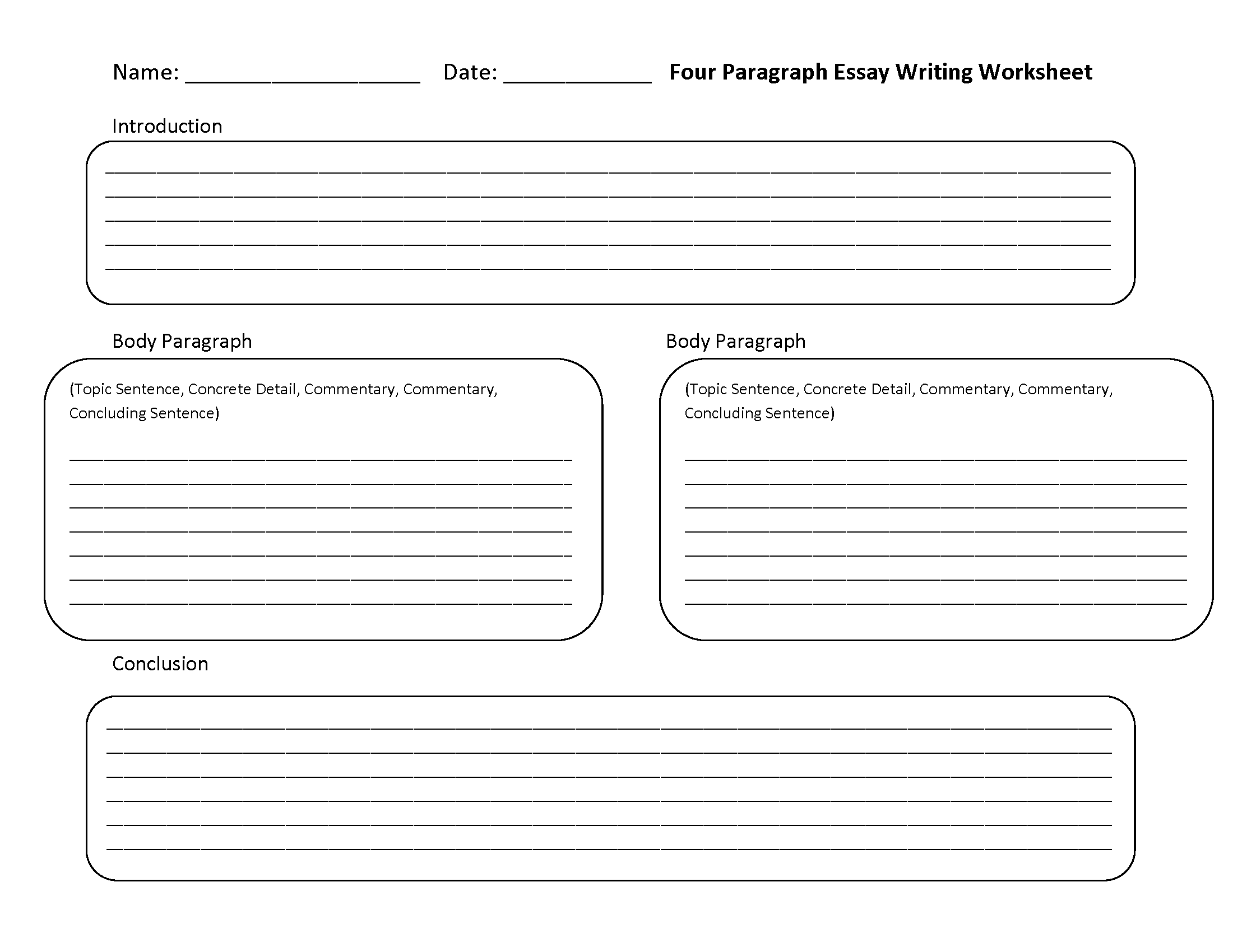 Four Paragraph Essay Writing Worksheets