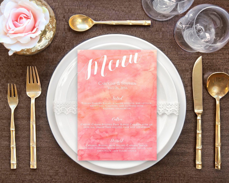 Printable Menu, Wedding Menu, Watercolor, Cotton Candy Pink - PRINTABLE…