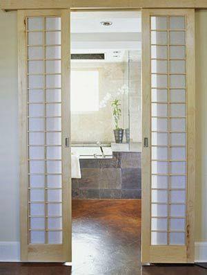 Bathroom Doors Like The Idea Of Two Small Sliding Zen Bathroom
