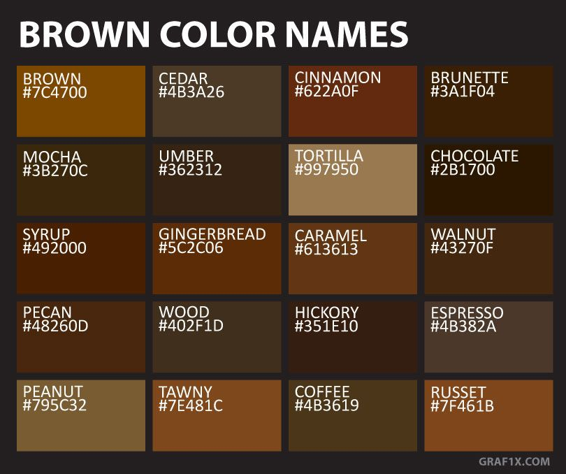 Brown Color Names Wheel Paint Palettes Colour
