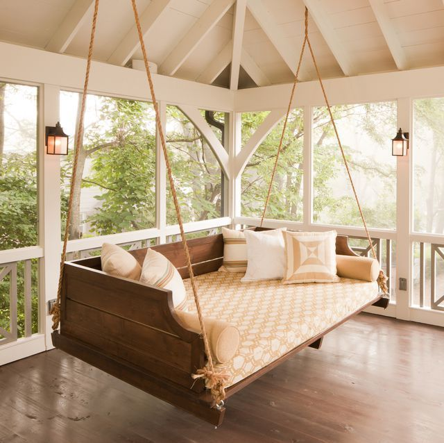 Stylish DIY Porch Swings for Outdoor Relaxation -  Feel like taking a nap or reading a book outdoors. Consider this bed swing. Cozy!  - #ArtLessons #D...