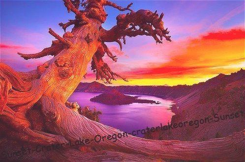 Sunset, Crater Lake, Oregon #craterlakeoregon Sunset, Crater Lake, Oregon