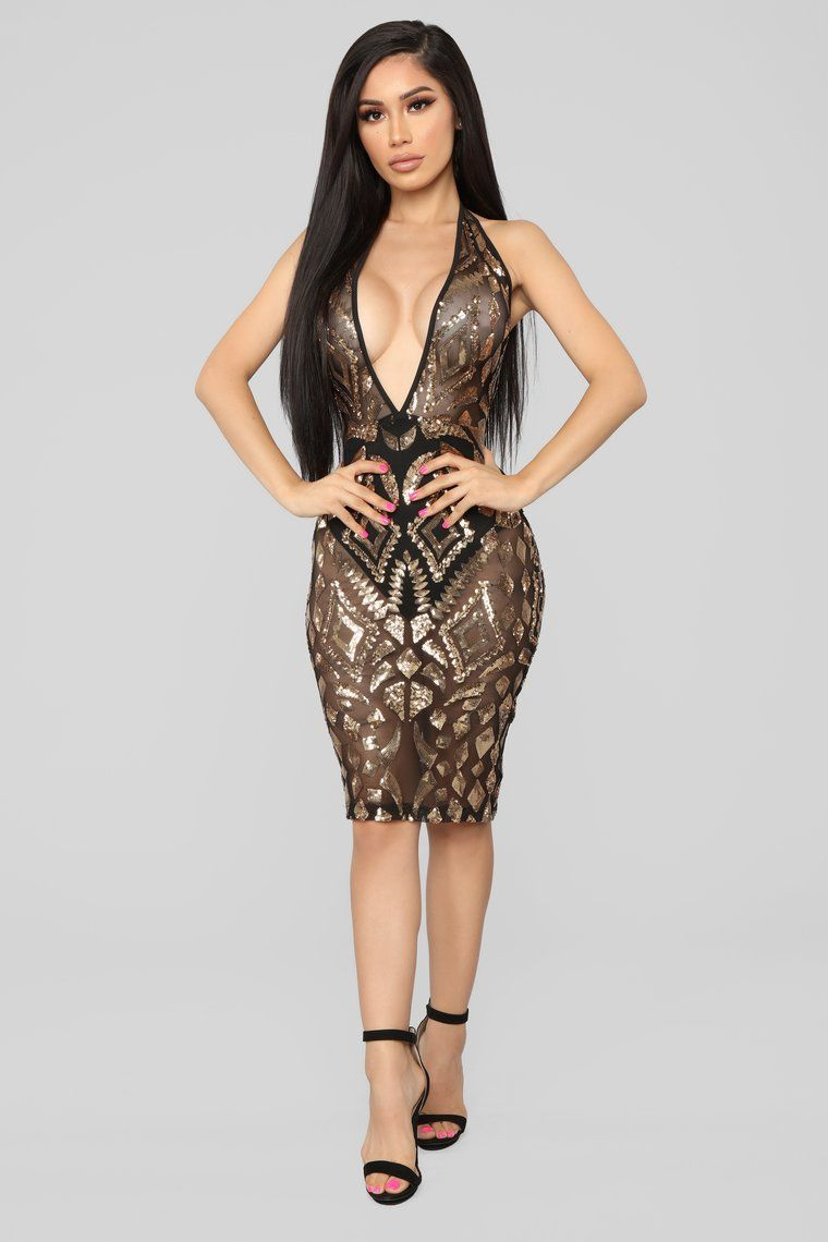 58230480 Watch My Shine Sequin Dress - Black/Gold in 2019 | Sexy things ...