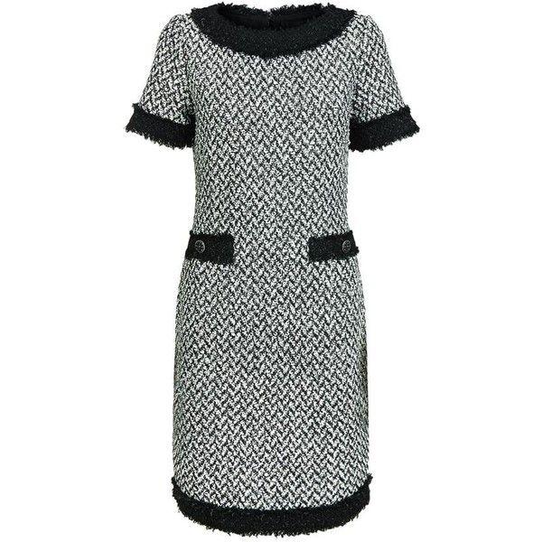 St. John Fringed Tweed Shift Dress ($1,375) ❤ liked on Polyvore featuring dresses, button dress, panel dress, tweed shift dress, scoop neck shift dress and fringe dress