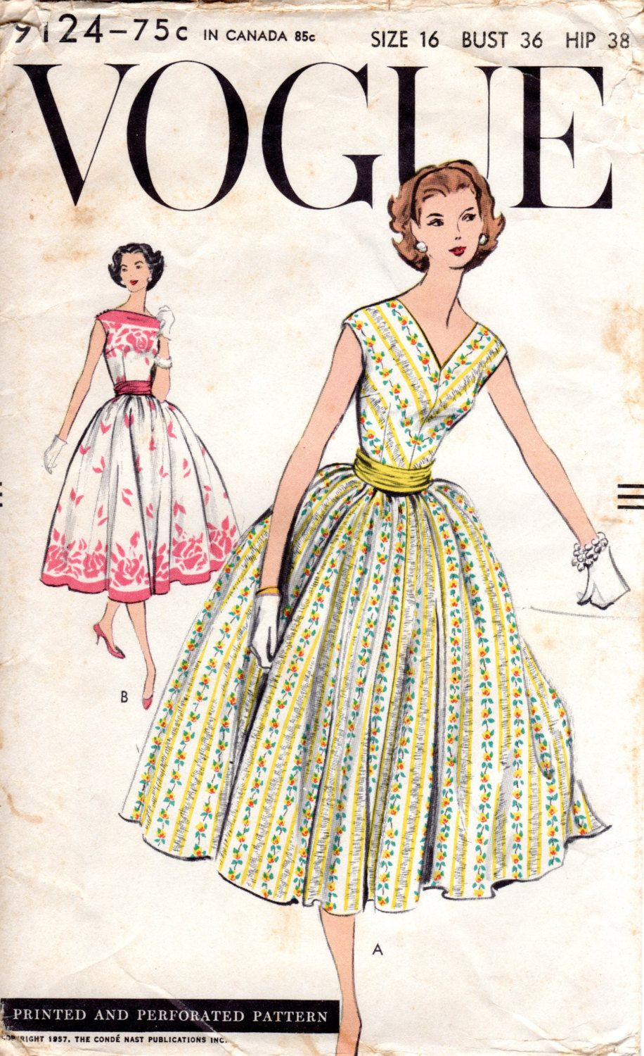1950s Fit & Flare Dress Pattern - Vintage Vogue 9124 - Bust 36 FF