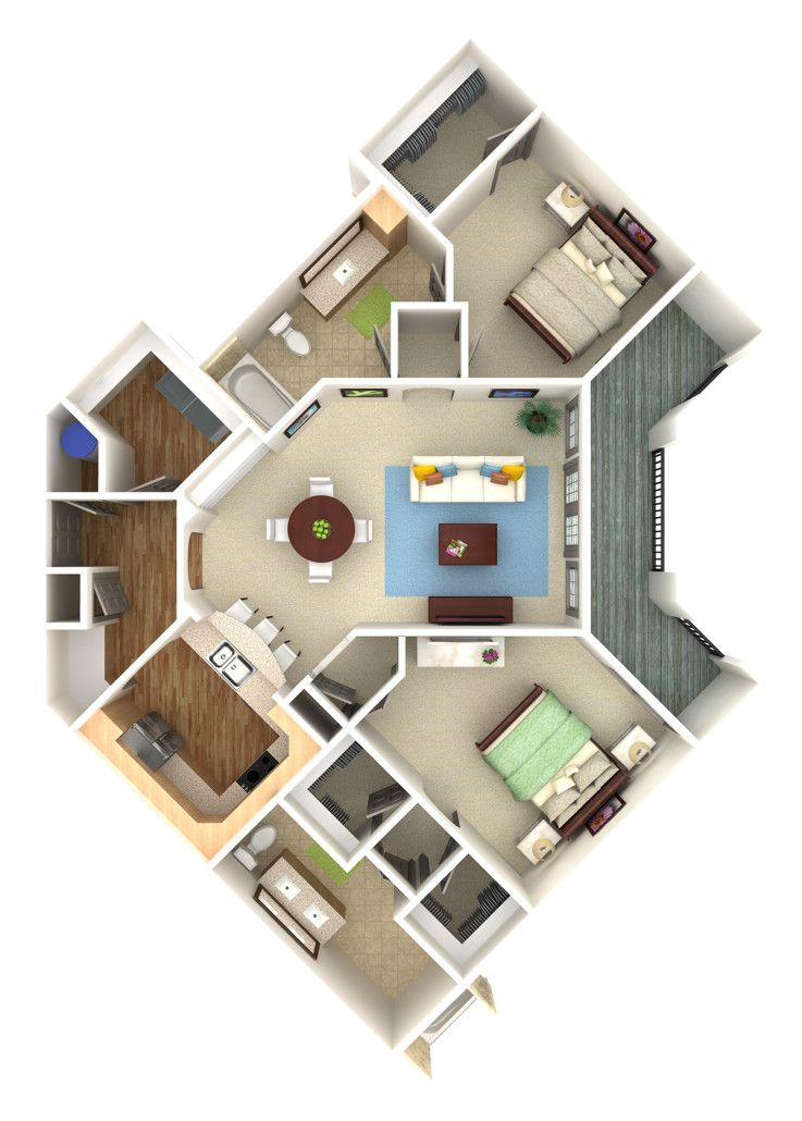 Apartment condo overhead 3d rendering prevision 3d llc for Site plan rendering software