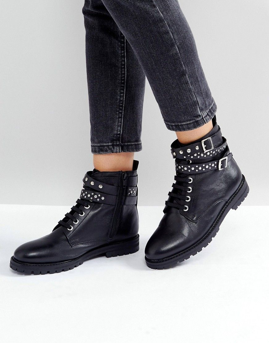 Park Lane Studded Leather Hiker Boots   Products   Boots
