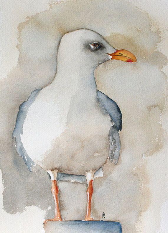 Watercolor Bird Painting Bird Art Original Watercolor Seagull By
