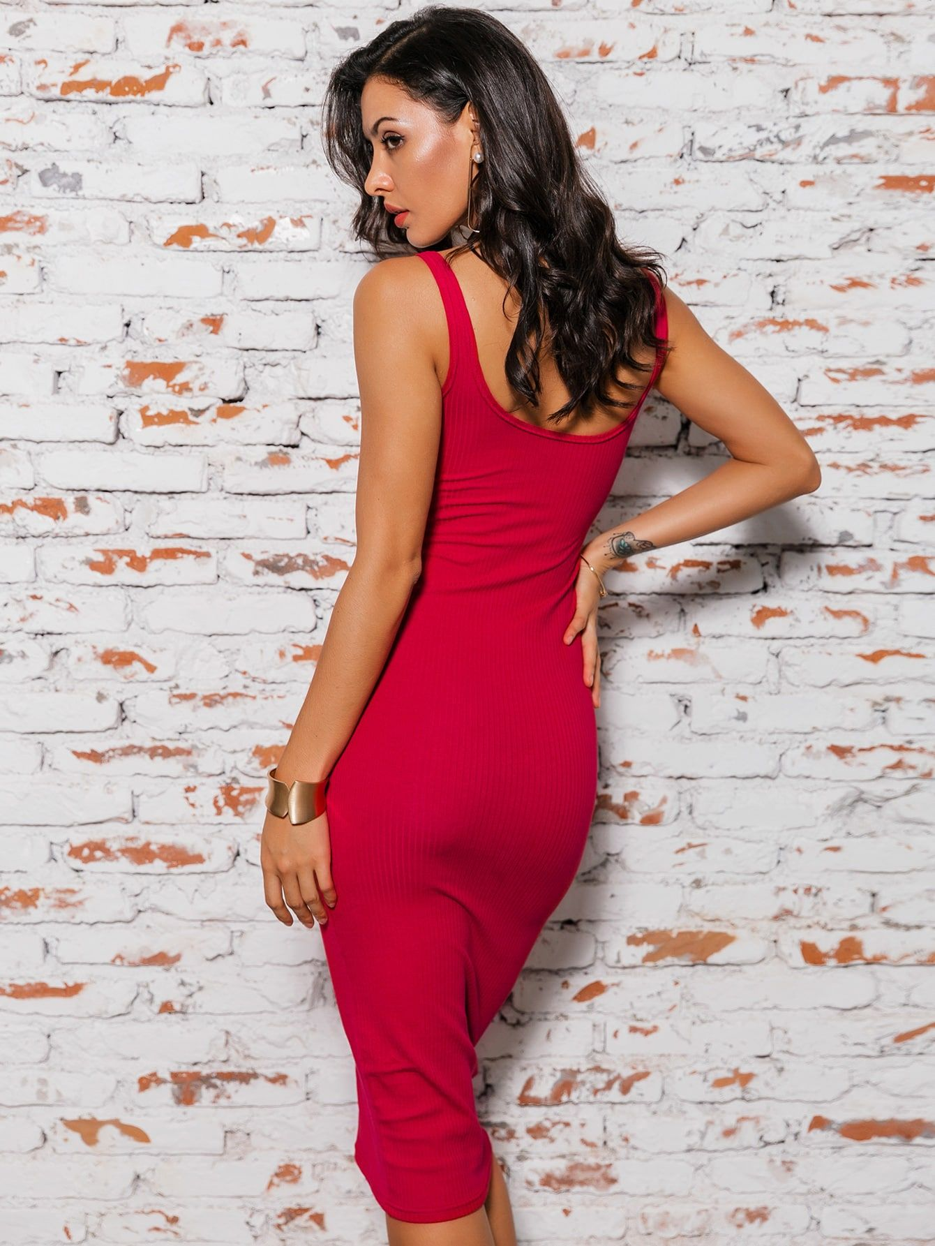Glamaker Solid Rib Knit Bodycon Dress Bodycon Dress Ribbed Knit Bodycon Dress Mesh Sleeved Dress [ 1785 x 1340 Pixel ]