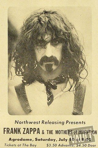 """Frank Zappa Poster from Armadillo World Headquarters on 16 Oct 80: 11"""" x 17"""""""