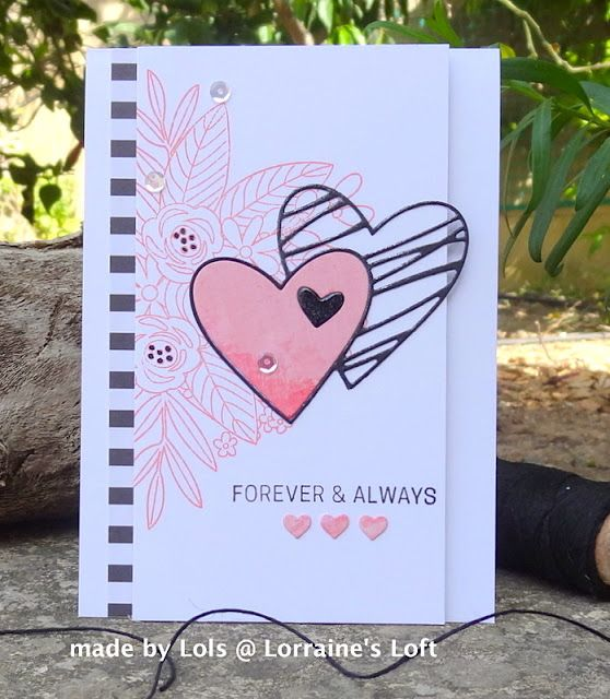 Card Made Using A Simon Says Stamp June Card Kit And Sketched Hearts Die Http Loraquilina Blogspot Com Mt 20 Valentines Cards Card Kits Valentine Love Cards