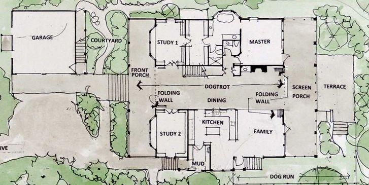 Floor Plans Dog Trot Houses We Would Make The 2 Studies Bigger For