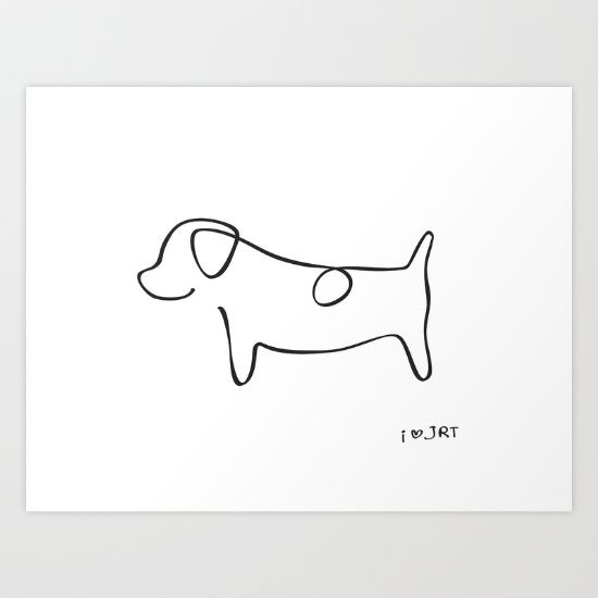 picasso inspired jack russell terrier dog line drawing simplicity black and white i love. Black Bedroom Furniture Sets. Home Design Ideas
