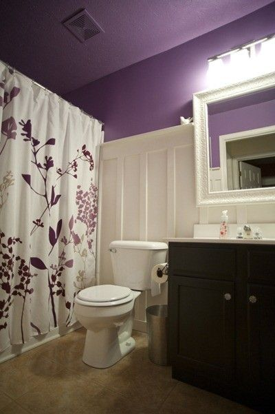 33 Cool Purple Bathroom Design Ideas Digsdigs White Work Well With The Grounded Black Sink Cabinetry