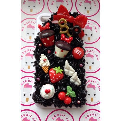 White iPhone 4 Case with Black Whip Cream and Cabochons