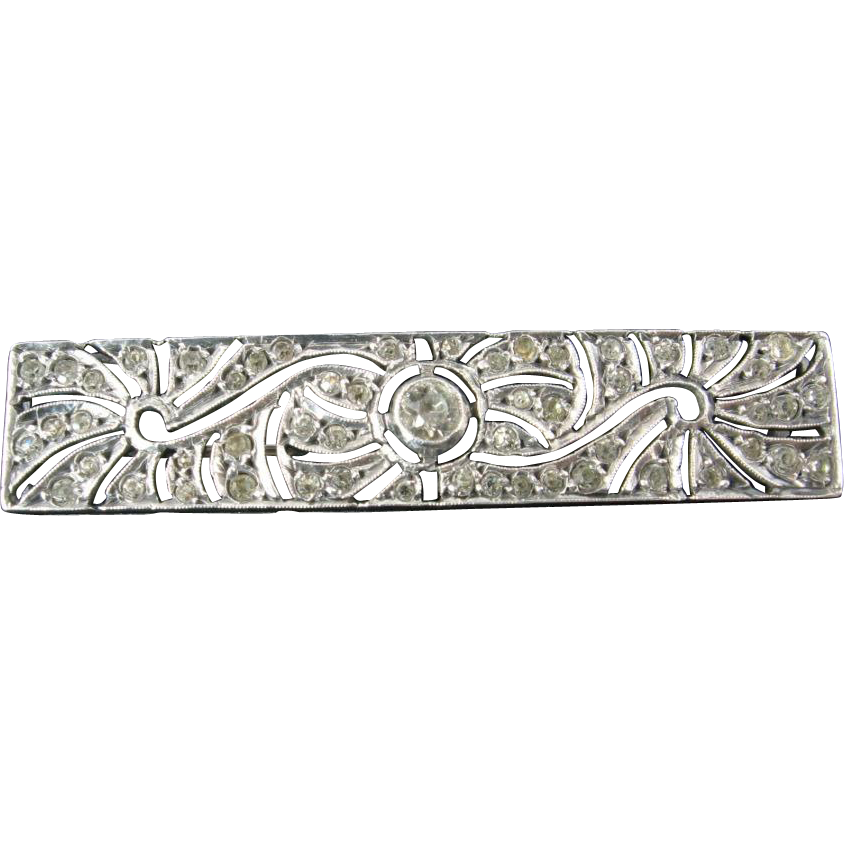 French Art Deco Silver and Paste Bar Brooch