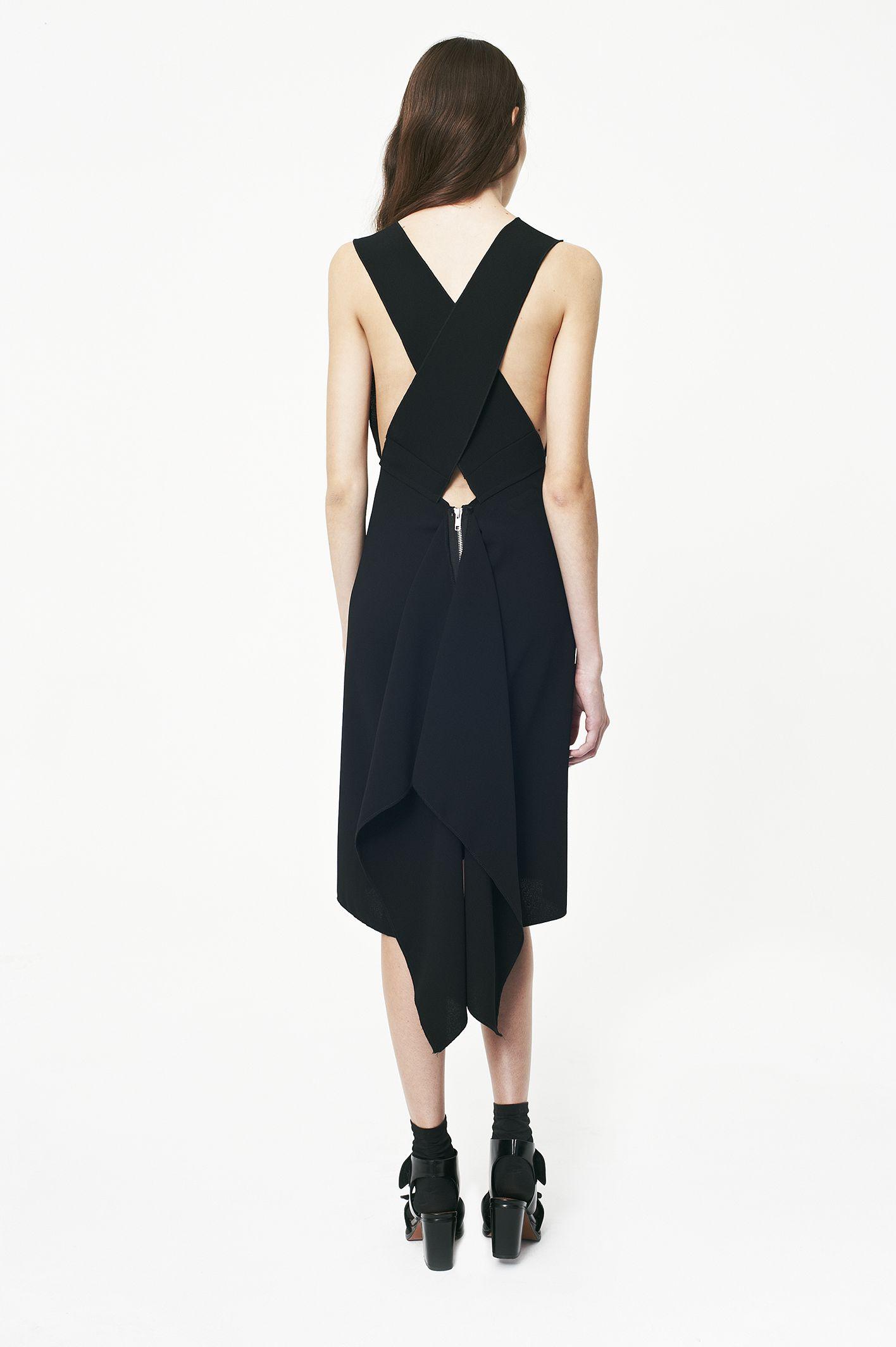 black crepe gorgeous dress ,  cross detail silver metal zip