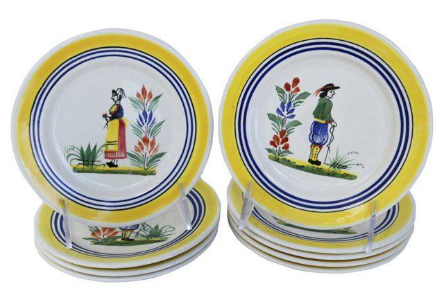 French Quimper Dessert/Cake Plates, S/9