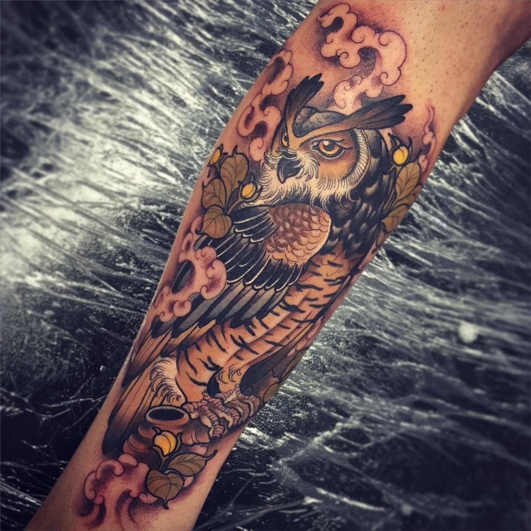 Traditional Tattoos Australia: Owl Tattoo By Tom Bartley