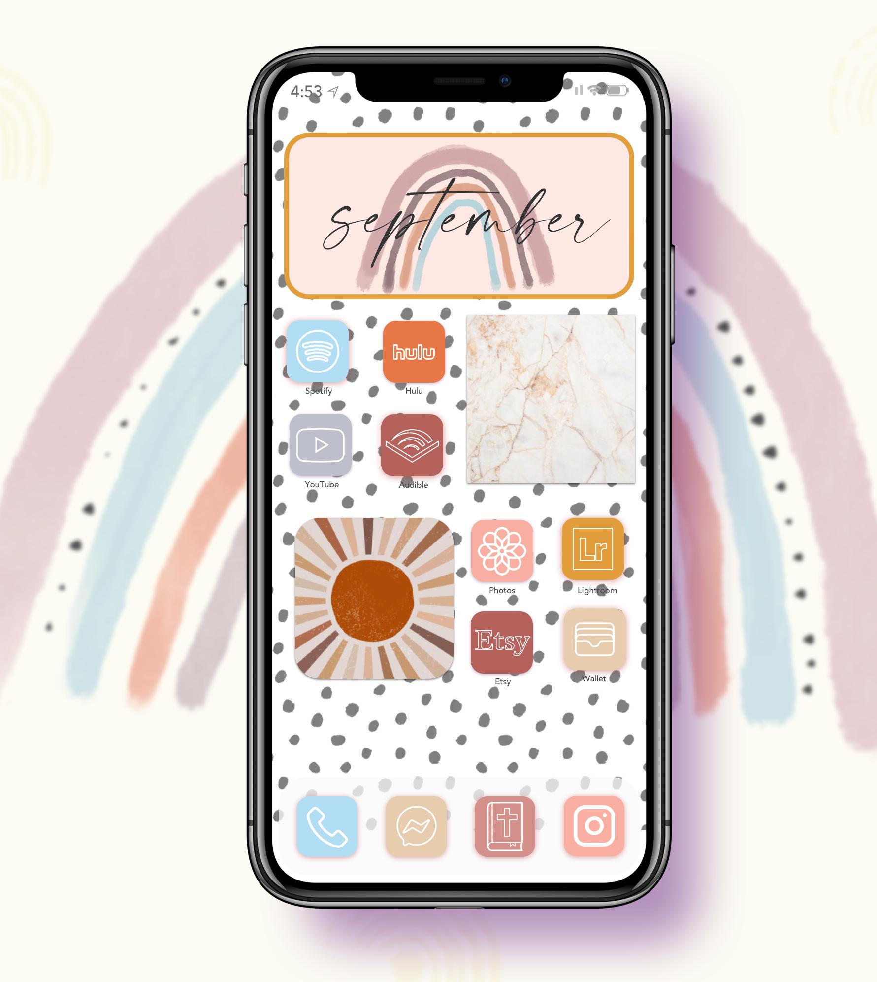 Ios 14 Boho Rainbow Pastel App Icons For A Customized Etsy In 2020 Homescreen Iphone Design Printable Calendar Template