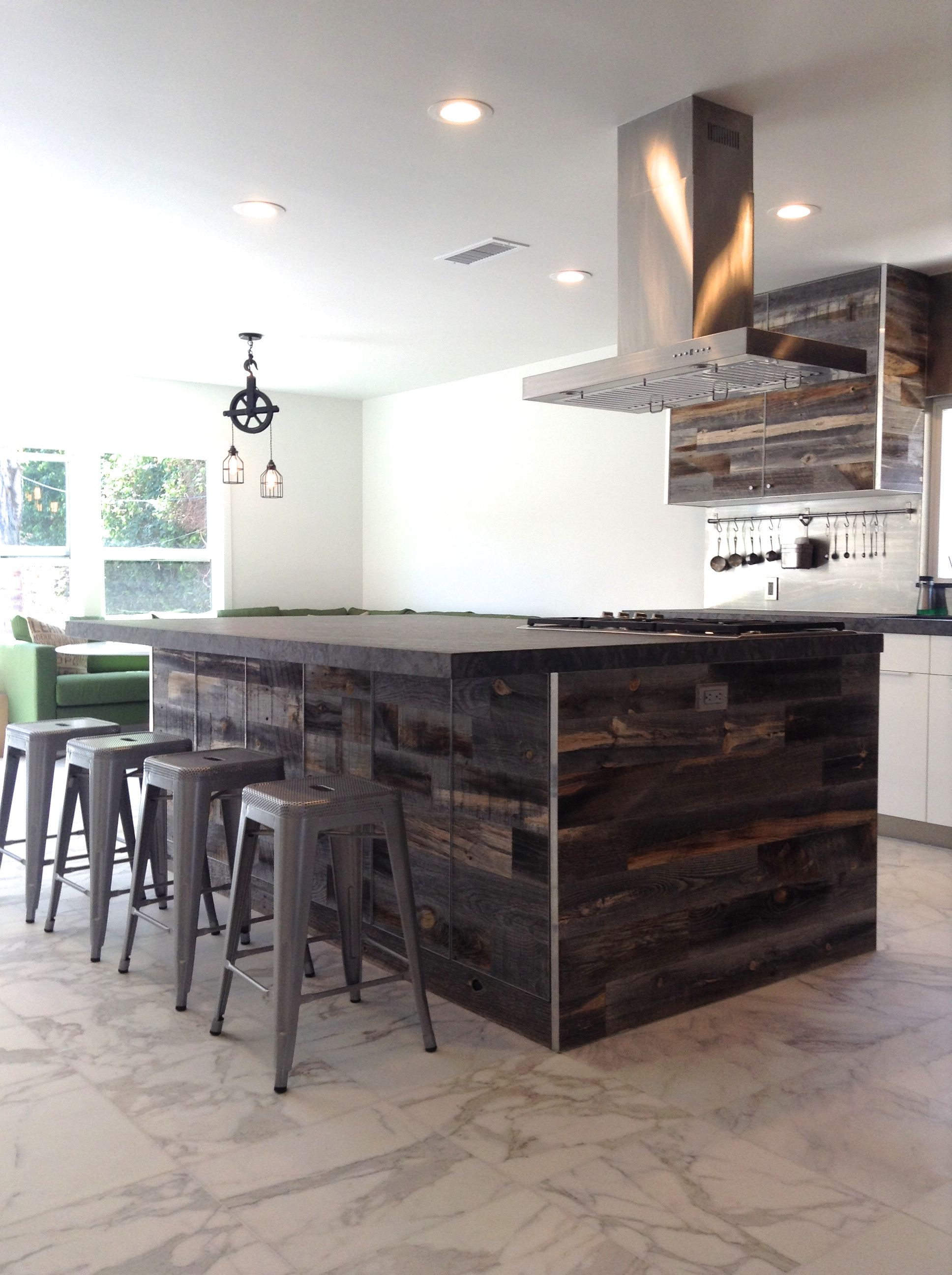 Kitchen Ikeahack With Reclaimed Weathered Wood