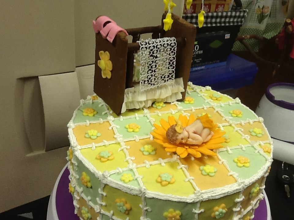 Guilted effect on a baby shower cake with a crib out of