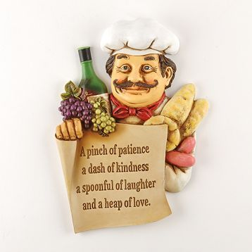 Fat Chef Wall Art Plaque Sign Pinch Of Patience Bistro Kitchen Decor Cook Wine