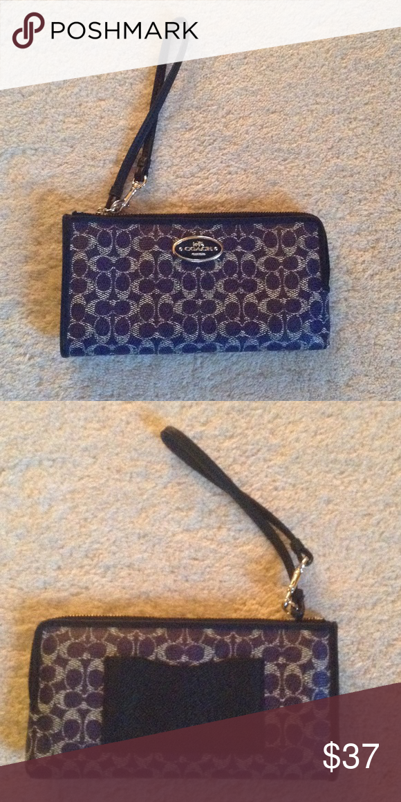 """Coach purple leather coin purse wallet Coach leather purple wallet with signature C's. The wallet measures 8""""X4"""" and is in great condition. Minor wear on the one corner. Smoke free home. Coach Bags Wallets"""