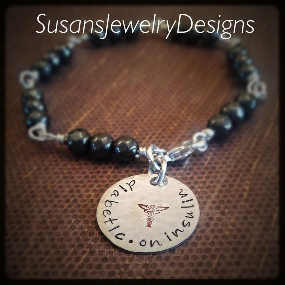 Medical Alert Wire Wrapped Bead Bracelet  by SusansJewelryDesigns