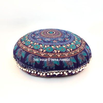 Blue Chakra Medallion Round Floor Pillow Cover 32 Inch