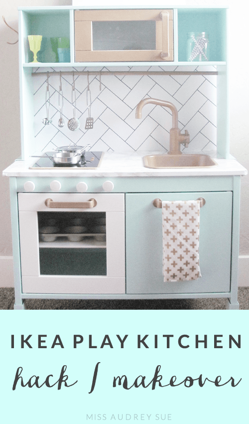 childrens toy kitchen farmhouse cabinet hardware ikea play makeover miss audrey sue playroom