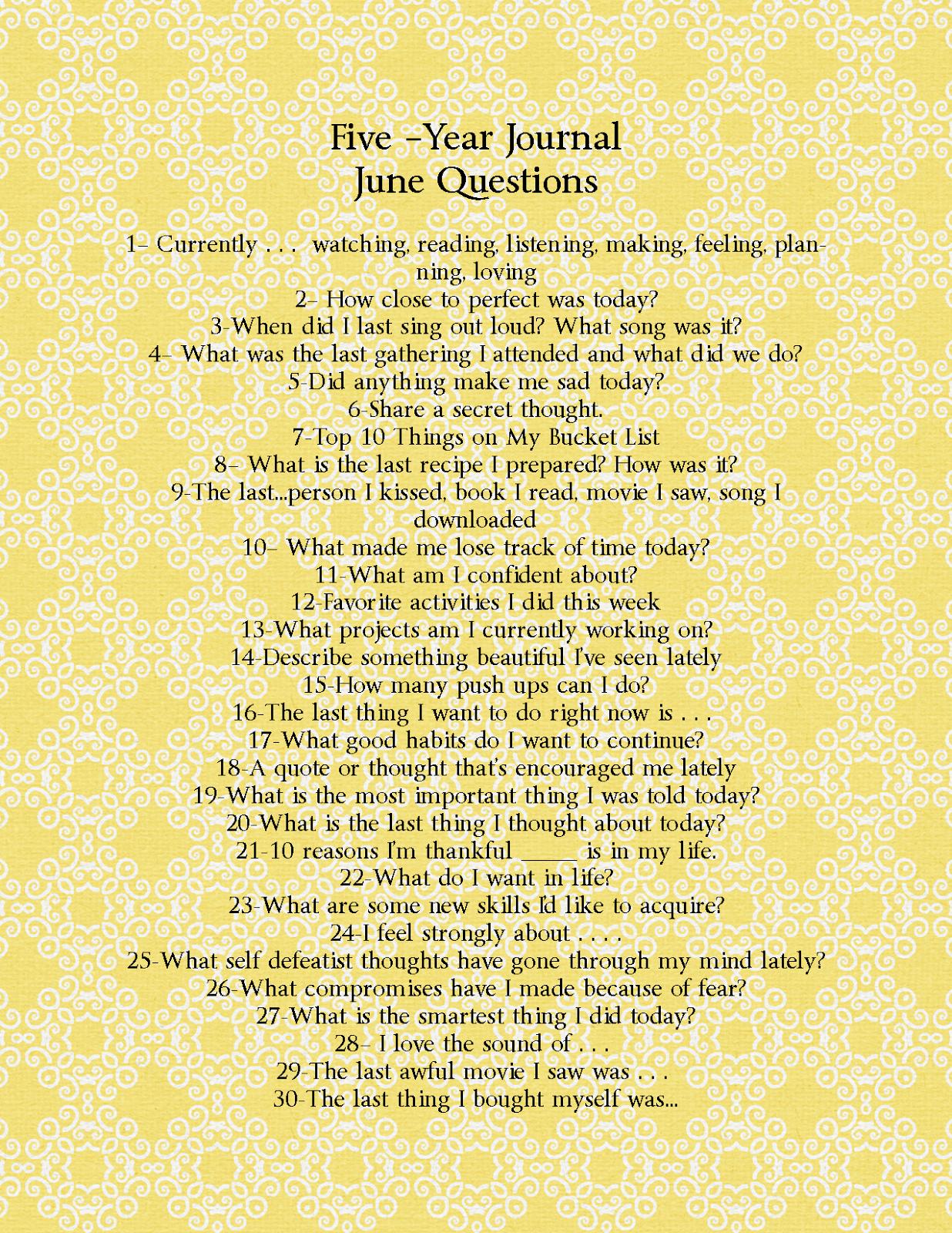 diy five year journal june questions journaling pinterest. Black Bedroom Furniture Sets. Home Design Ideas