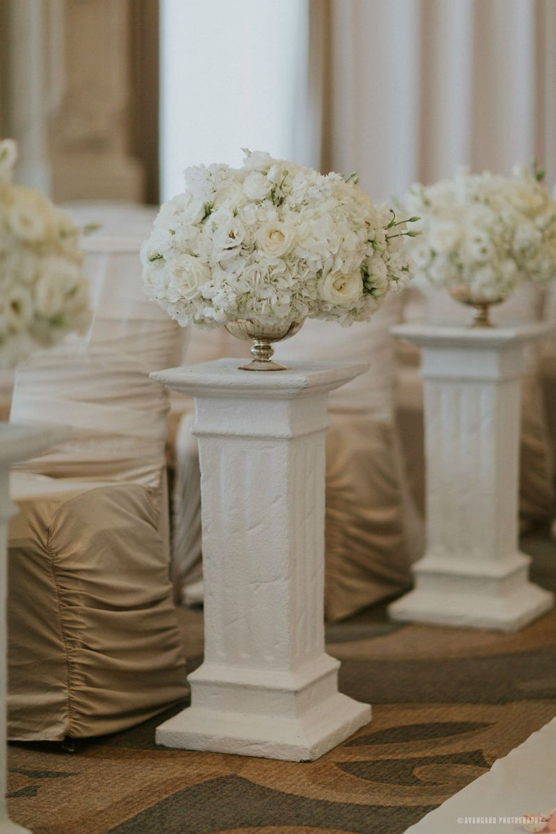 Columns ivory fabric uplighting wedding ceremony downtown double tree - White Wedding Flowers On Columns To Line The Aisle For Your Ceremony Classic White Wedding