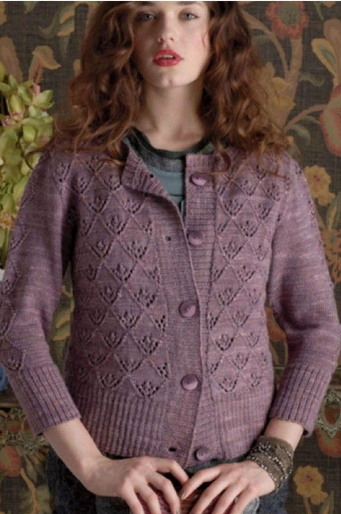 Triangle Lace Pat Cardigan | Knitting - Blouses,Pullovers