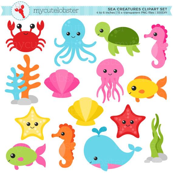 Sea Creatures Clipart Set Sea Animals Clip Art Crab Fish Etsy Clip Art Sea Creatures Animal Clipart