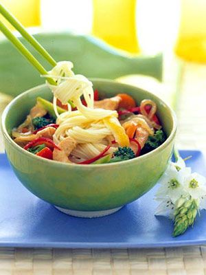 lemon-grass chicken over noodles-This low-fat chicken and vegetable stir-fry recipe has a light but flavorful sauce and is served on Chinese egg noodles.