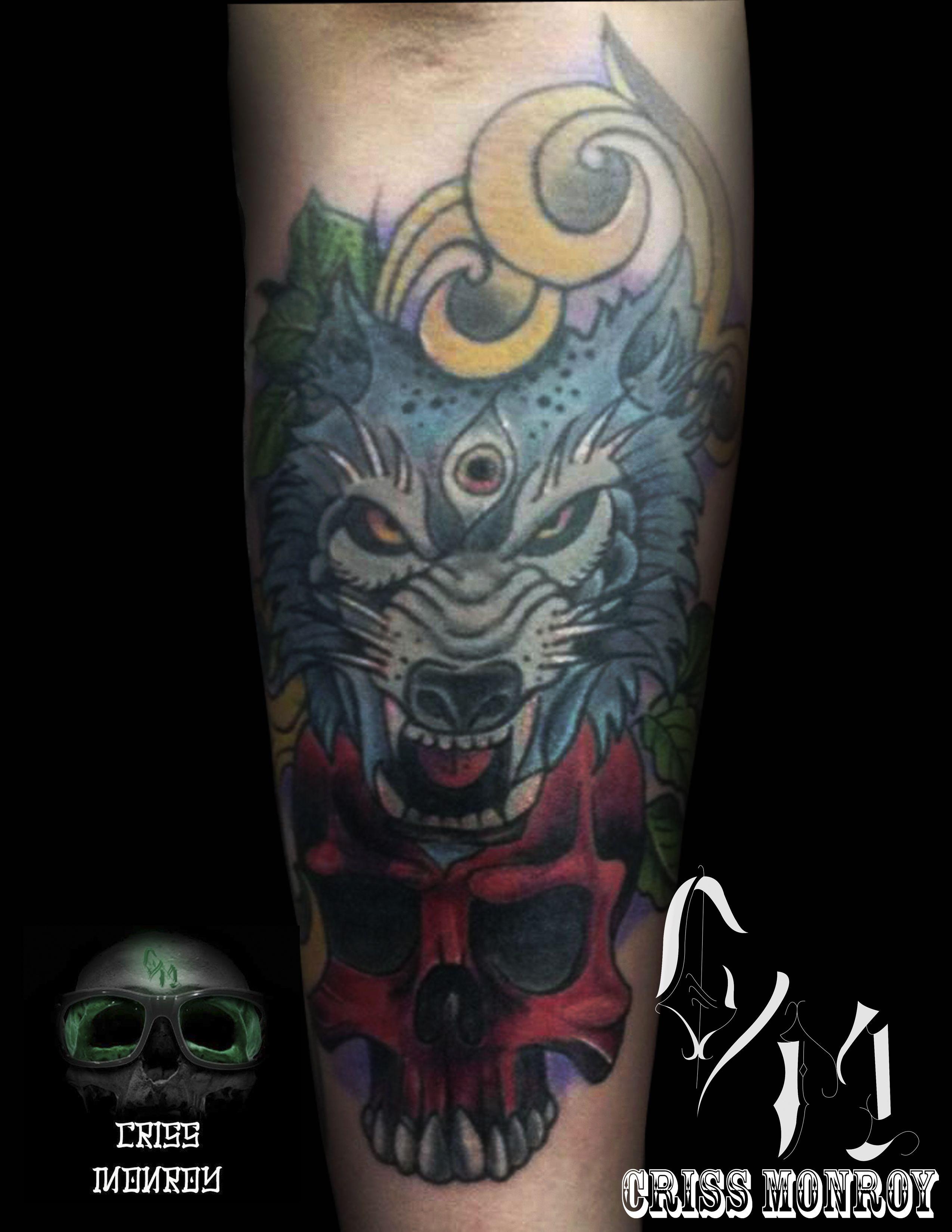 Tattoo Wolf Skull Neotraditional Tattoos Pinterest