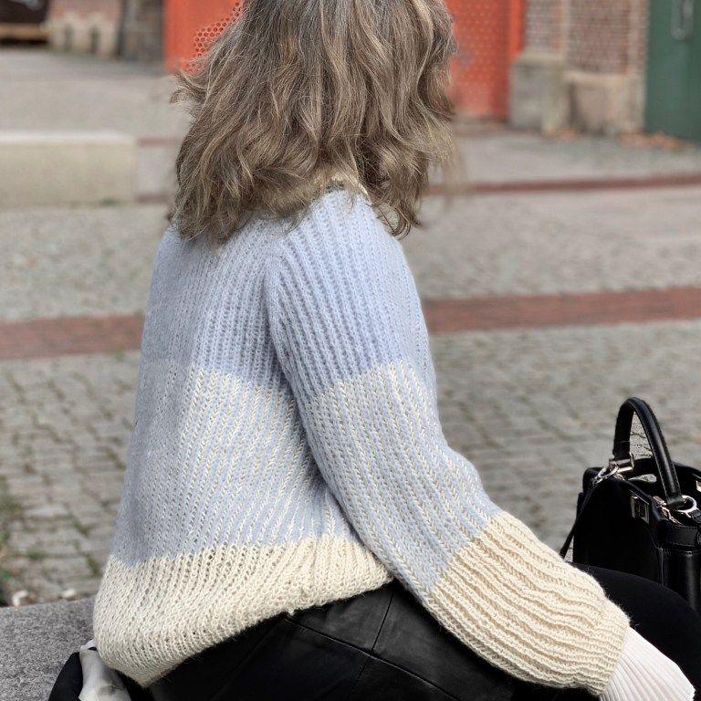 Malmö oversize sweater i to farvet patentstrik