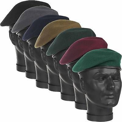 0cf98ae95508b Military  beret 100% wool leather banded silk lined army  cadet hat cap 7
