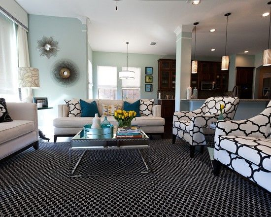 Black And White Living Room With Teal contemporary teal color in living room, houzz. have a dark brown