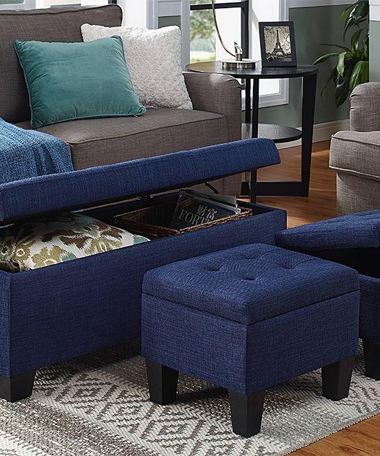 Everett Blue Three-Piece Storage Ottoman Set