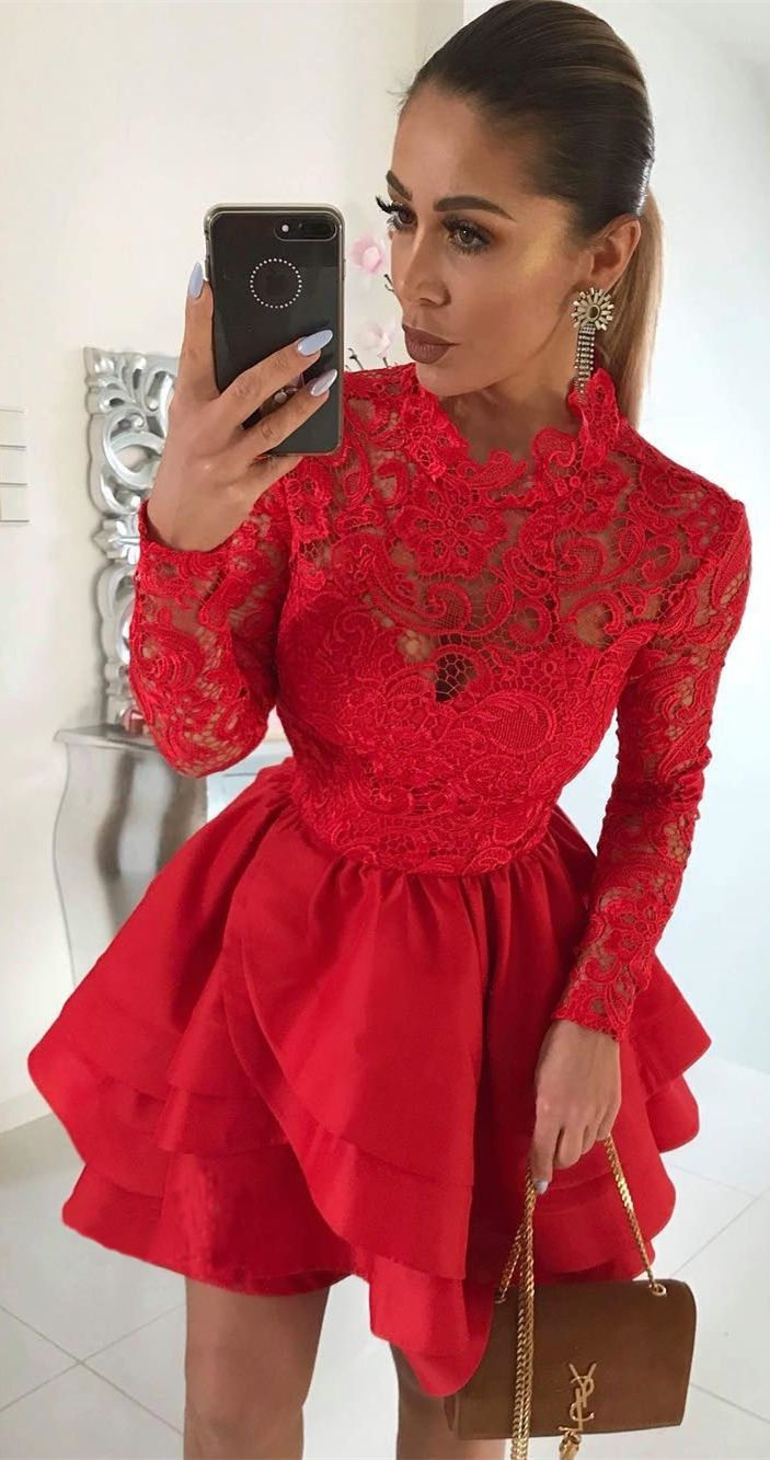 Aline jewel long sleeves short red satin homecoming dress with lace