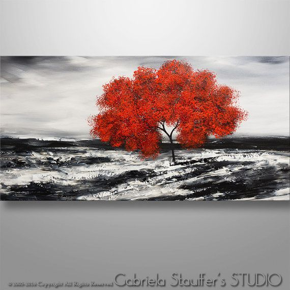 Abstract Painting Tree Painting Original Painting Landscape Painting Red Tree Art Abstract Painting Red Painting