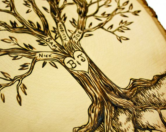Personalized family tree wood burned tree slice by for Wood burning design templates