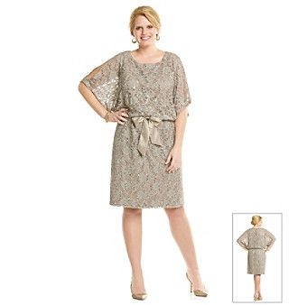 Jessica Howard® Plus Size Cold Shoulder Blouson Lace Dress at www ...