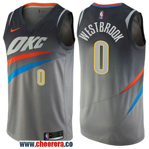 5800efaea346 Men s Nike Oklahoma City Thunder  0 Russell Westbrook Gray NBA Swingman City  Edition Jersey