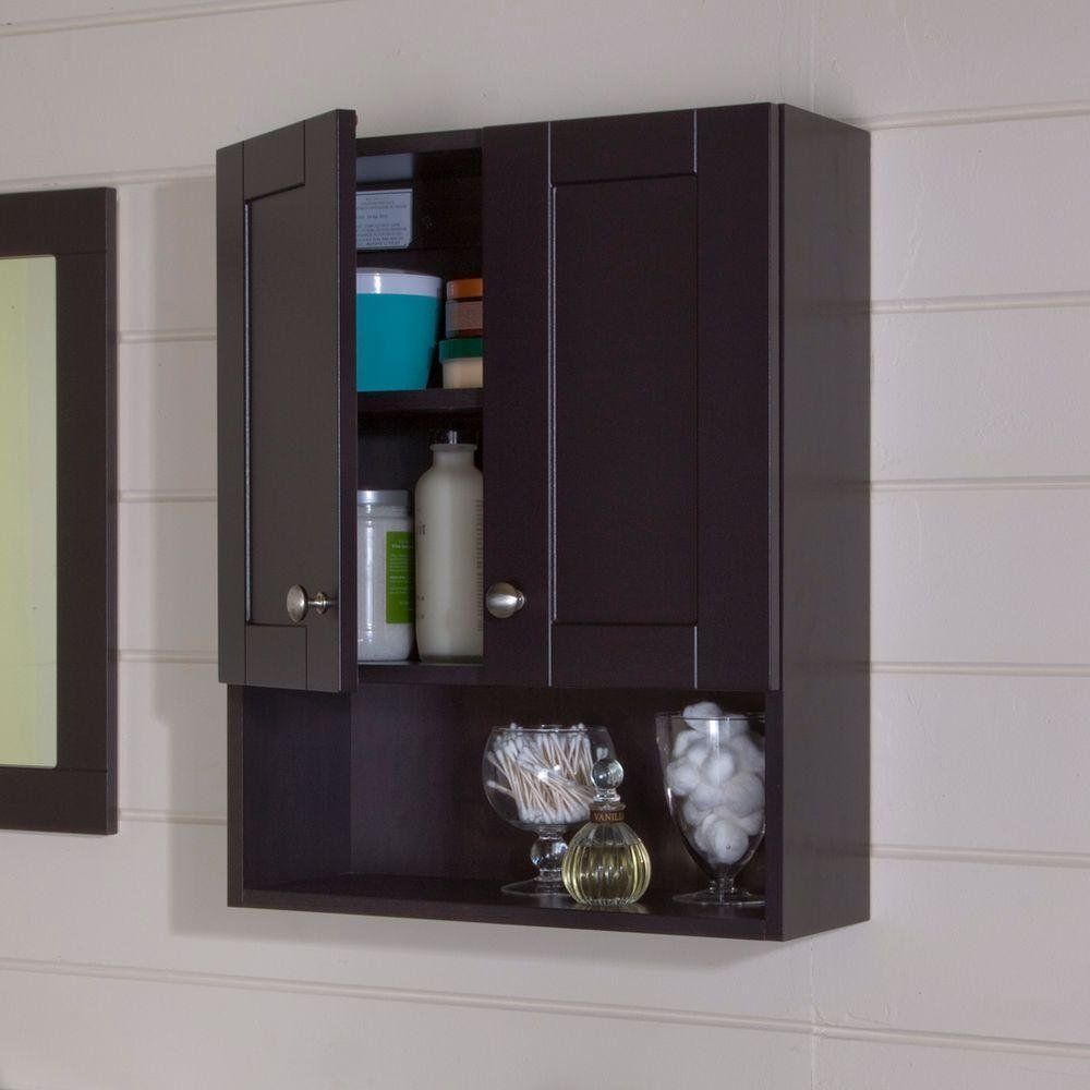 Delicieux Give Your Bath Or Powder Room Decor A Classic Look With This Glacier Bay  Del Mar Over The Toilet Bathroom Storage Wall Cabinet In Espresso.