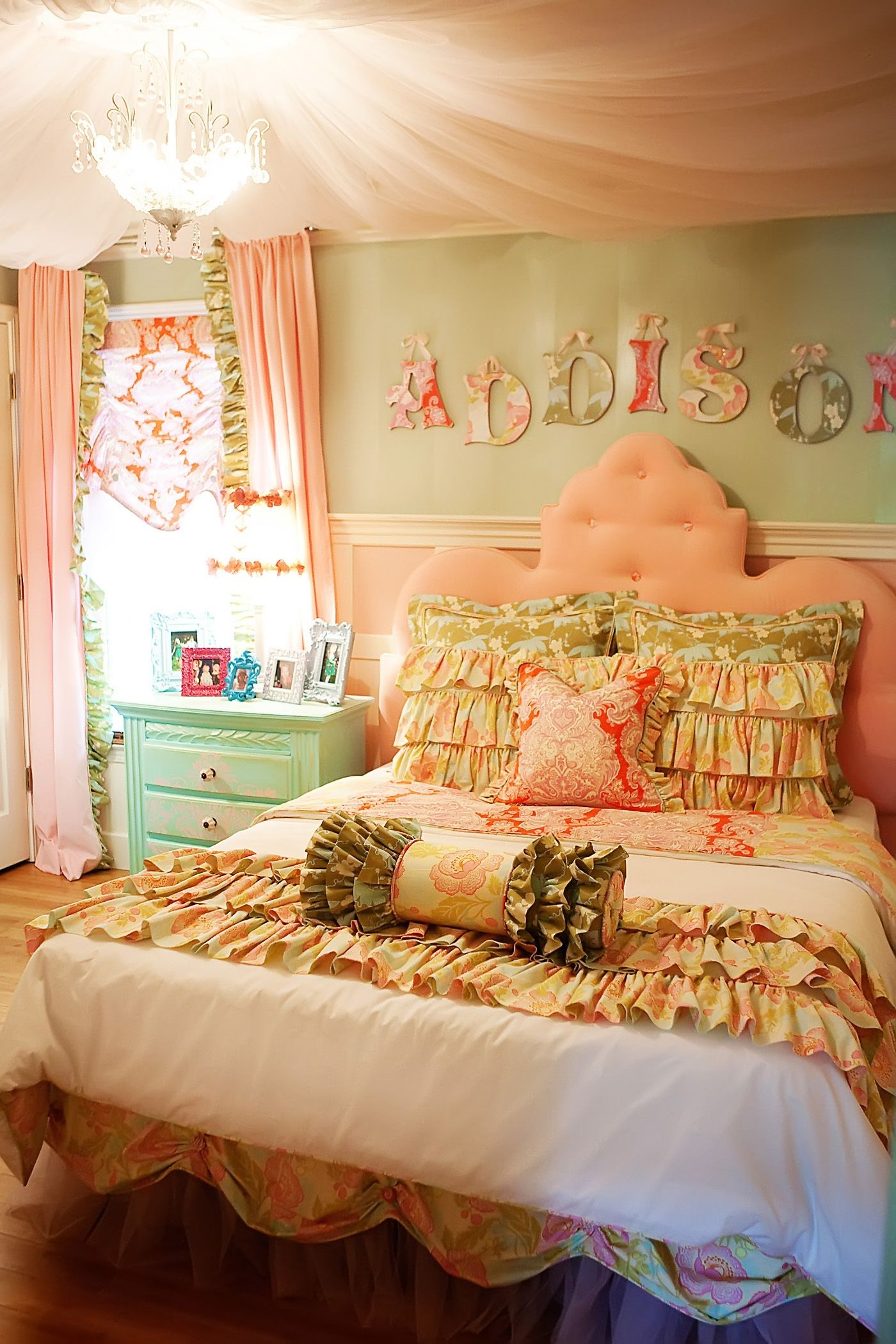 Bedroom ceiling drapes - My Daughter Addison S Bedroom Whimsical Pink Velvet Tufted Headboard Pink Tulle Ceiling