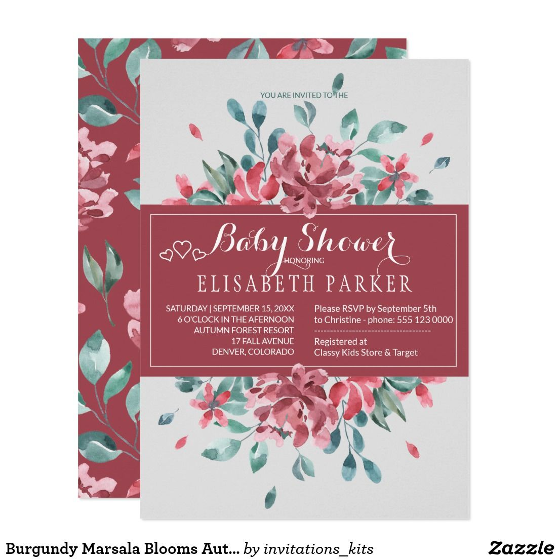 Burgundy Marsala Blooms Autumn Baby Shower Invitation   Babies and ...