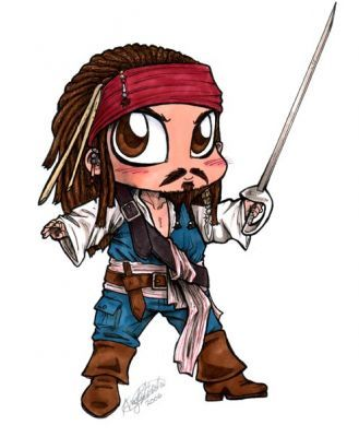how to draw chibi jack sparrow characters